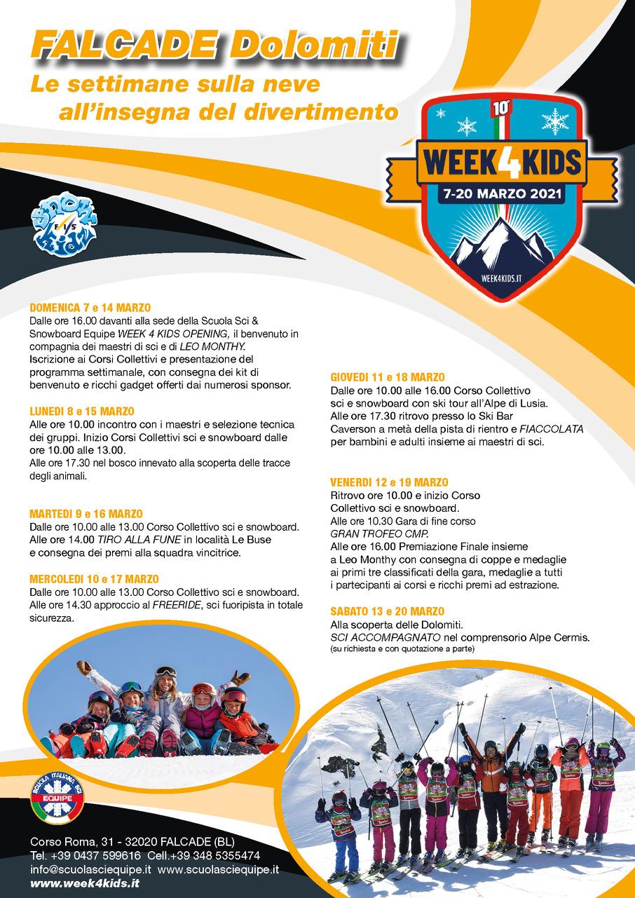 Falcade dolomiti Week 4 kids marzo 2021